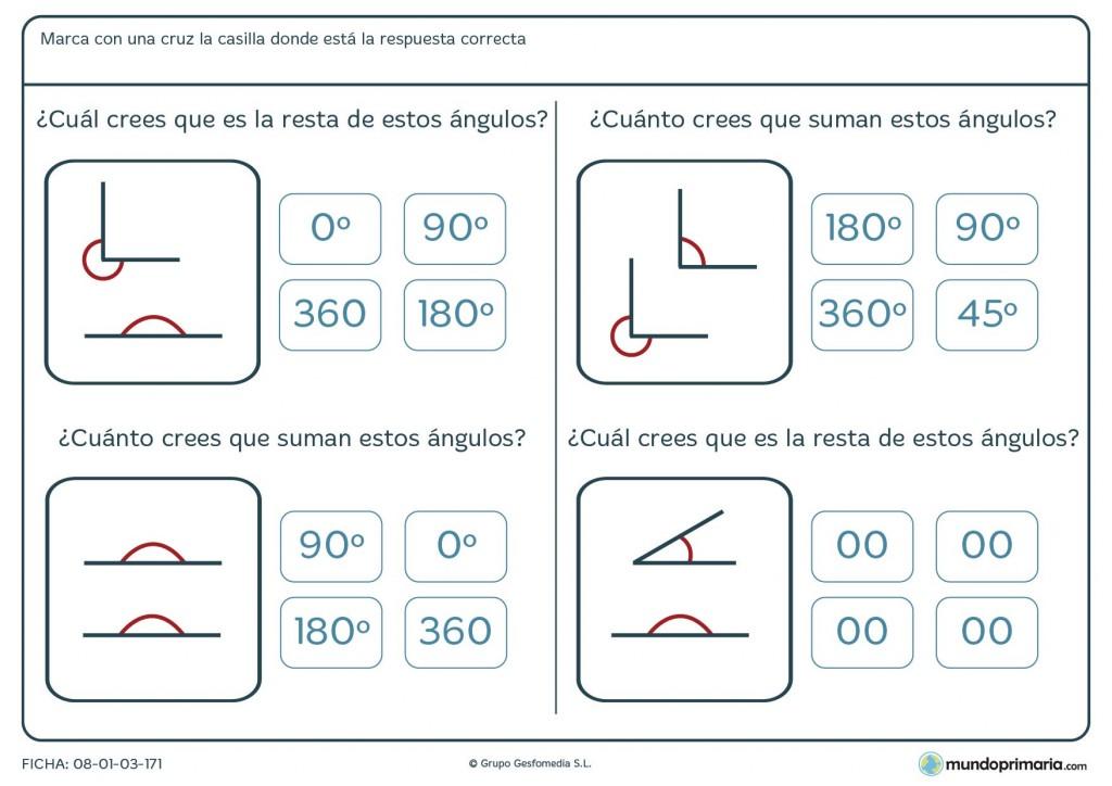 Ficha de restar gráficas de ángulos para 6º de Primaria