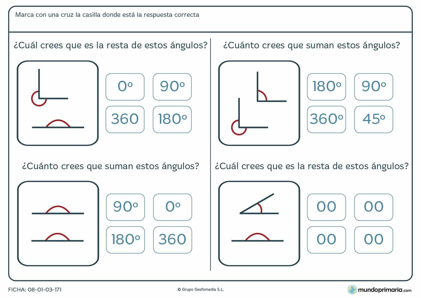 Resta o suma los ángulos mostrados en cada uno de los ejercicios atendiendo a los enunciados correspondientes.