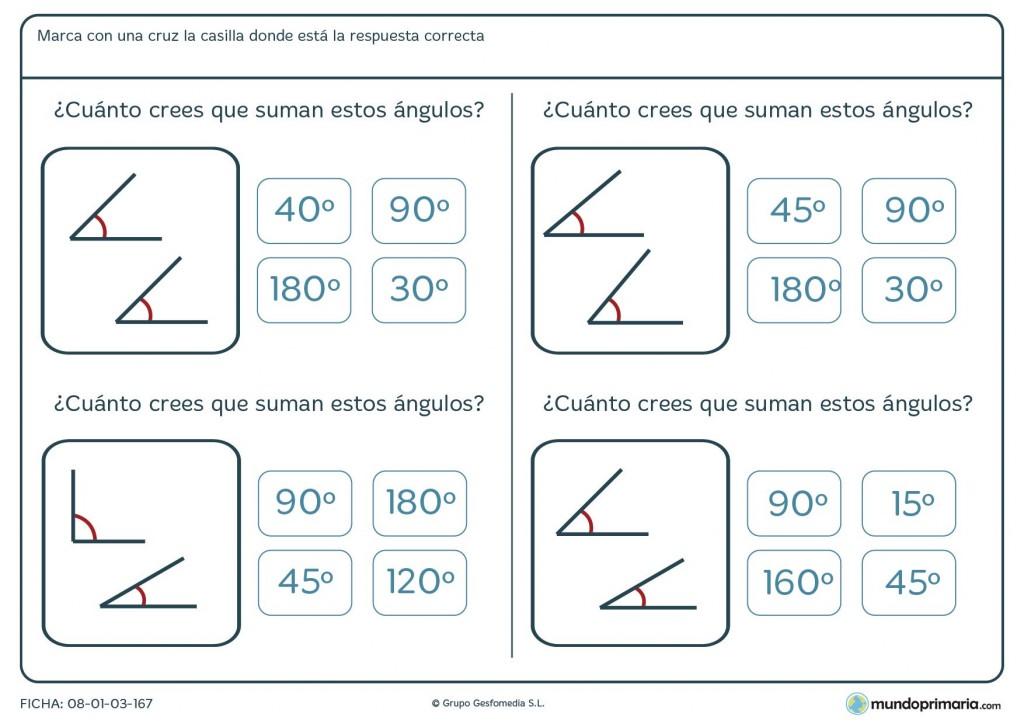 Ficha de sumar ángulos para Primaria
