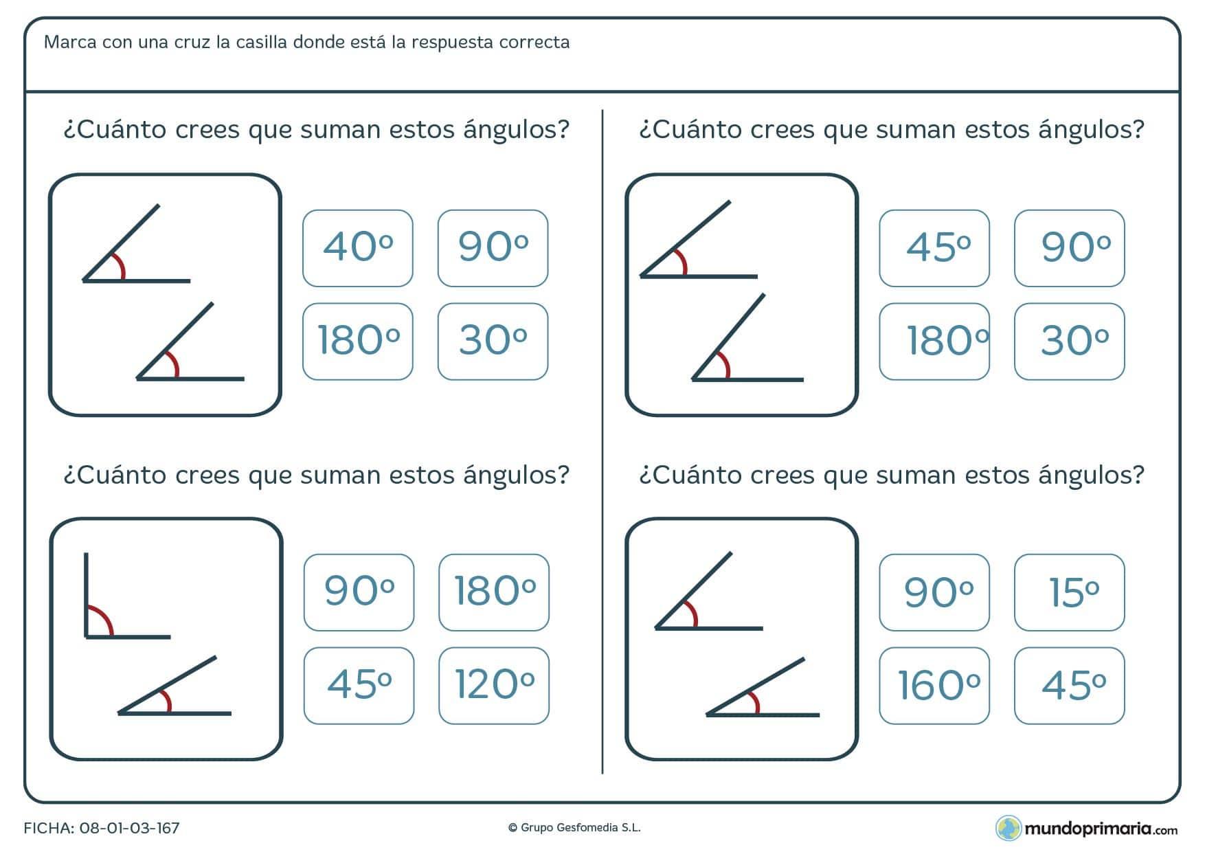 Ficha de sumar ángulos aproximados a través de su representación gráfica.