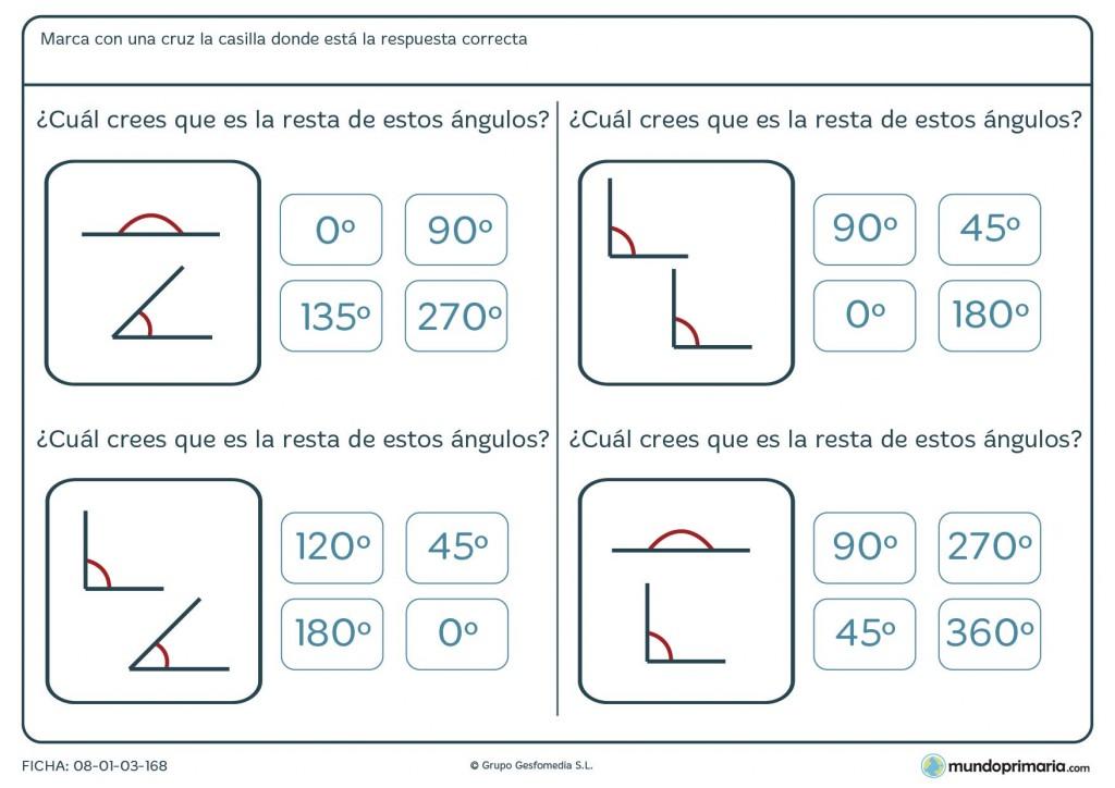 Ficha de sumar representaciones de ángulos para 6º de Primaria