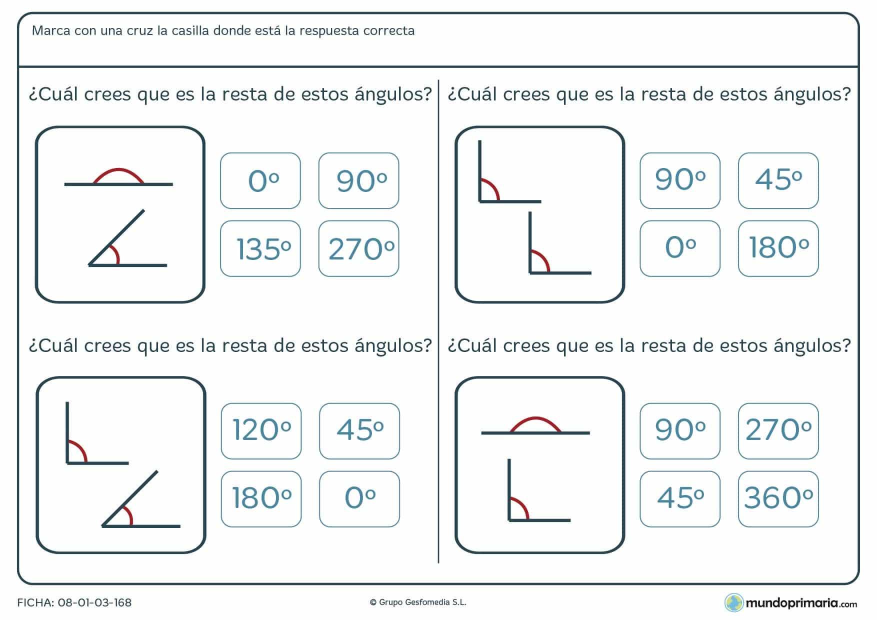 Observa los ángulos representados, identifica sus medidas y súmalos.