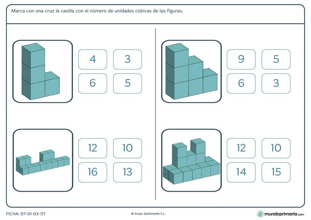 Ficha de unidades cúbicas para 5º de Primaria