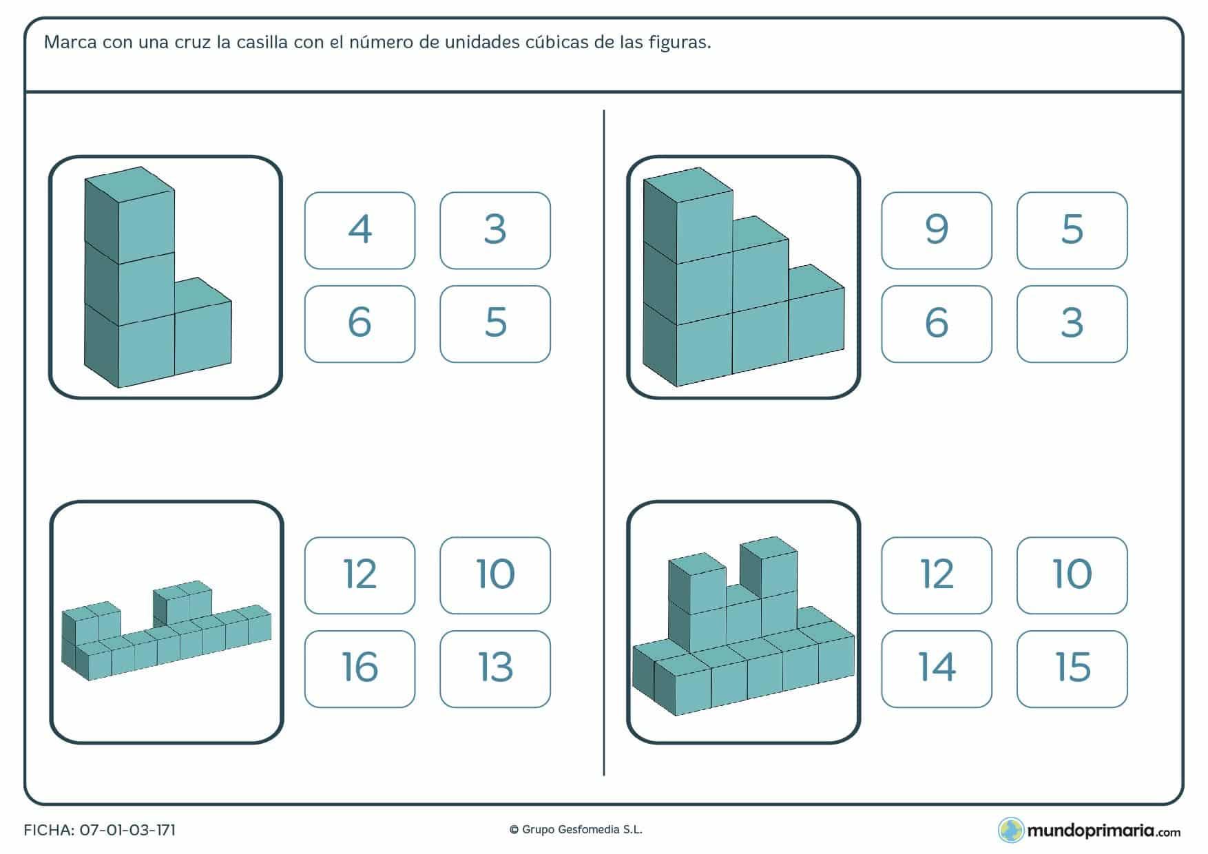 Observa las imágenes y marca el número de unidades cúbicas que las forman.