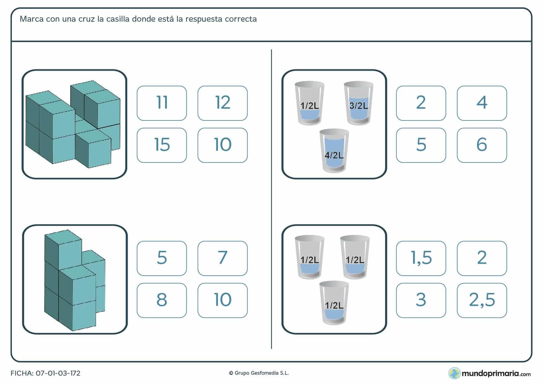 Observa con atención las imágenes y marca la casilla que contenga el número de unidades de capacidad y volumen.