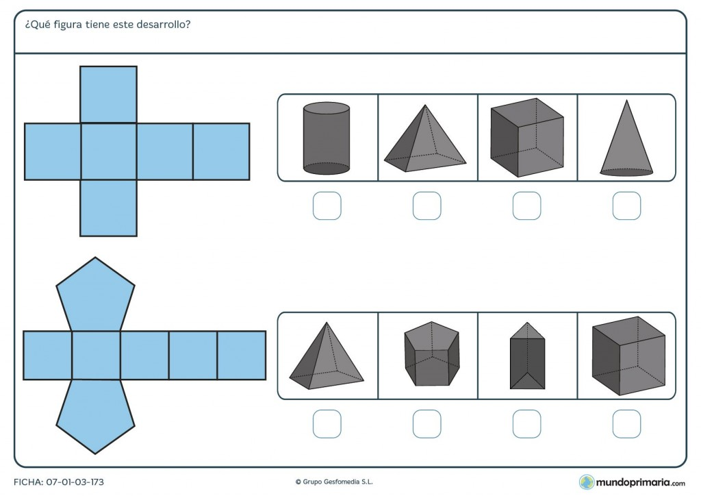 Ficha del desarrollo de prismas para Primaria