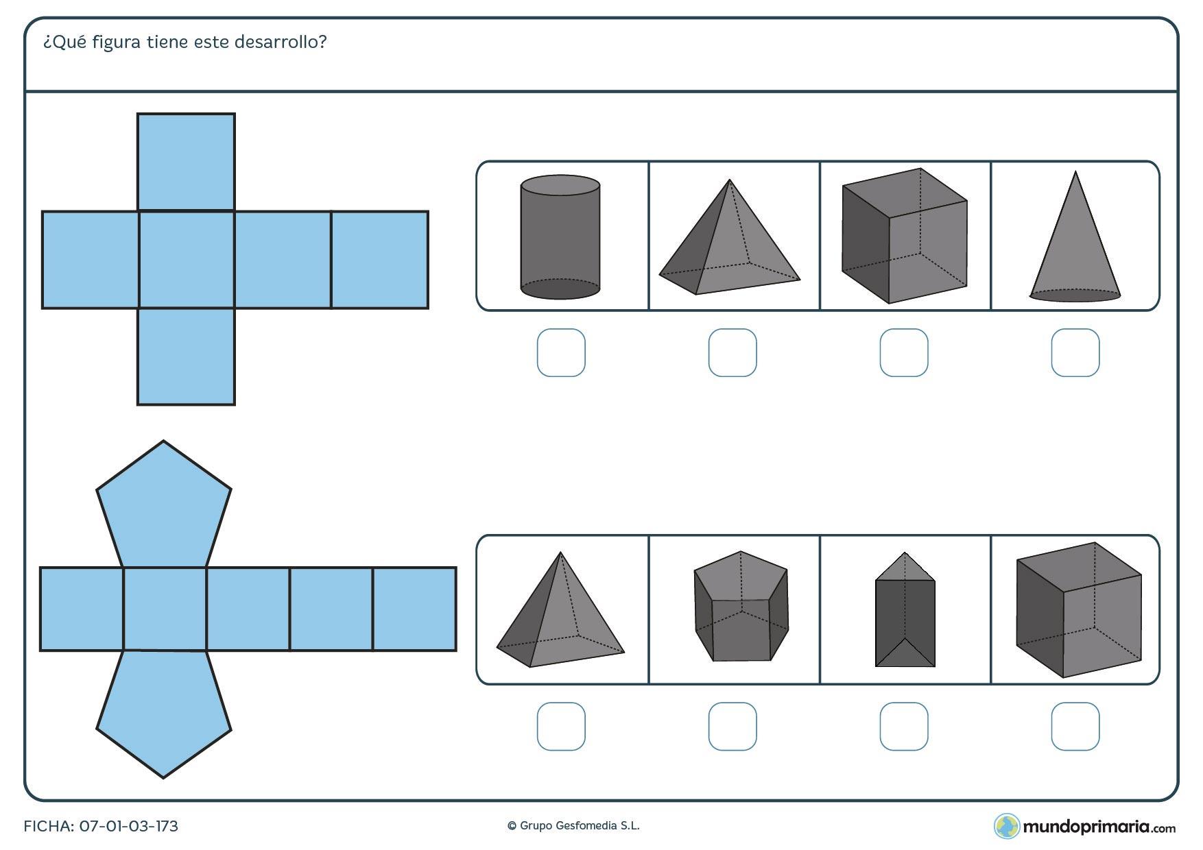 ¿A qué prisma corresponde cada desarrollo? Observa las posibles respuestas y marca la correcta.
