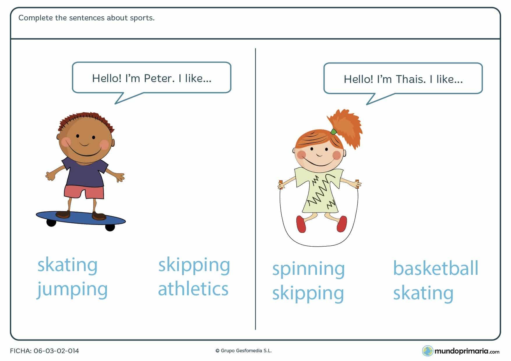 Ficha de seleccionar deportes en inglés para que los alumnos de 4º de Primaria repasen el vocabulario adecuado para su edad en inglés.