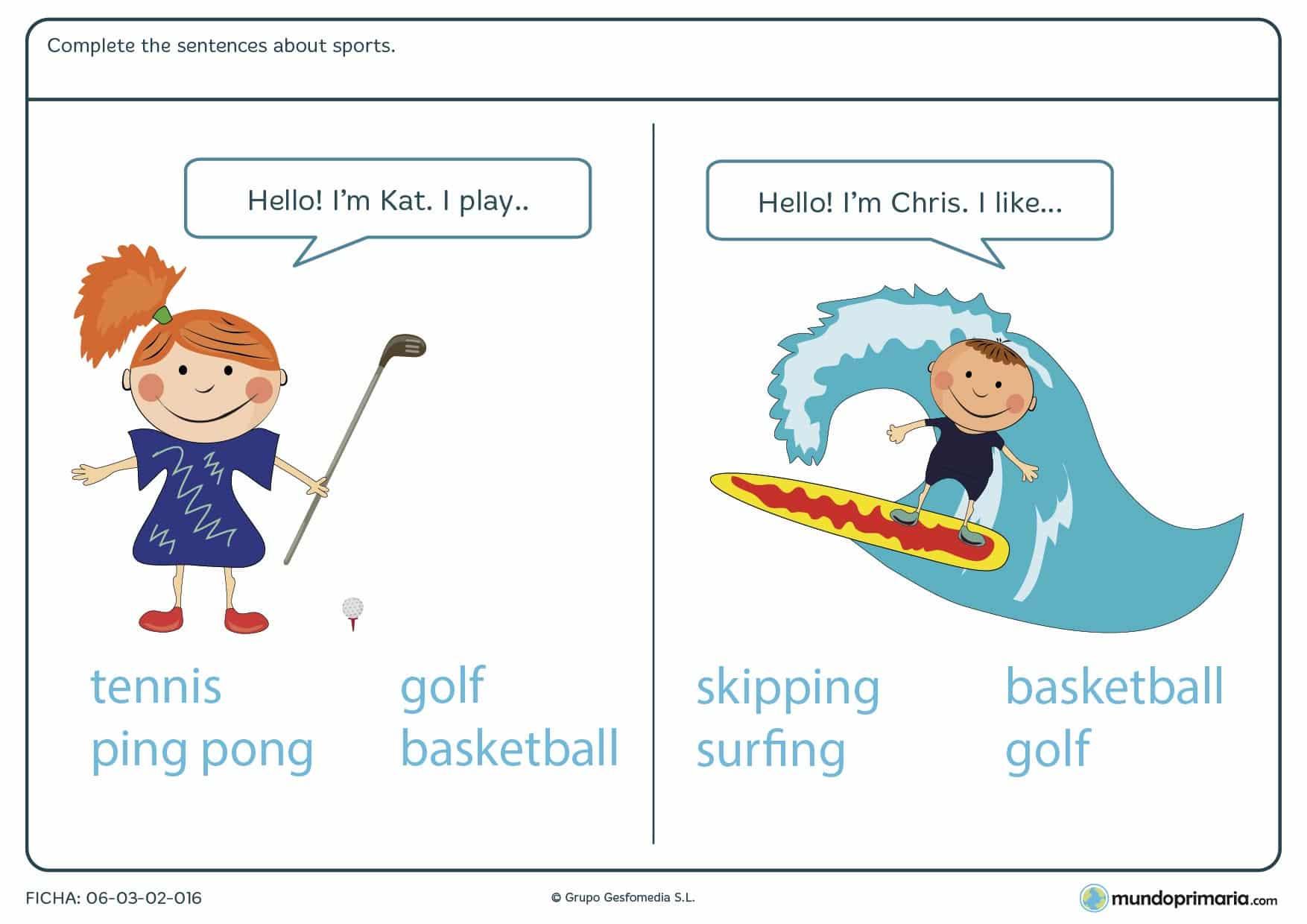 Ficha de inglés about sports para alumnos de 4º de Primaria que quieran repasar el vocabulario de esta temática con actividades adecuadas a su edad.