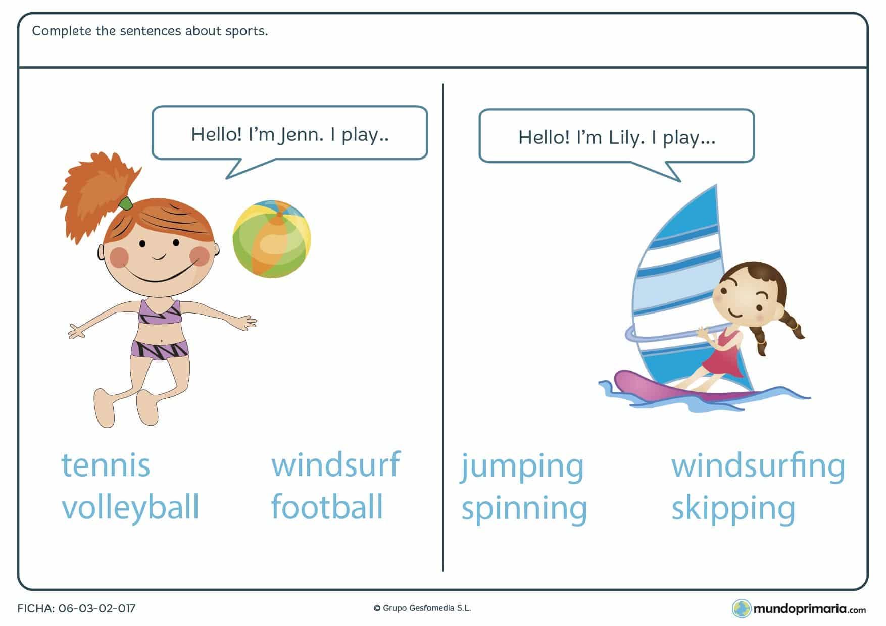 Ficha con ejercicios de vocabulario de deportes de playa en inglés diseñada para los alumnos de cuarto de Primaria con dos prácticas.
