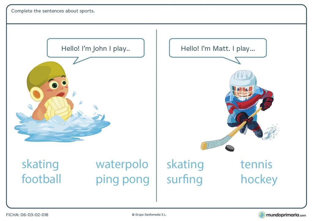 Ficha de cómo se dicen los deportes en inglés para 4º de Primaria