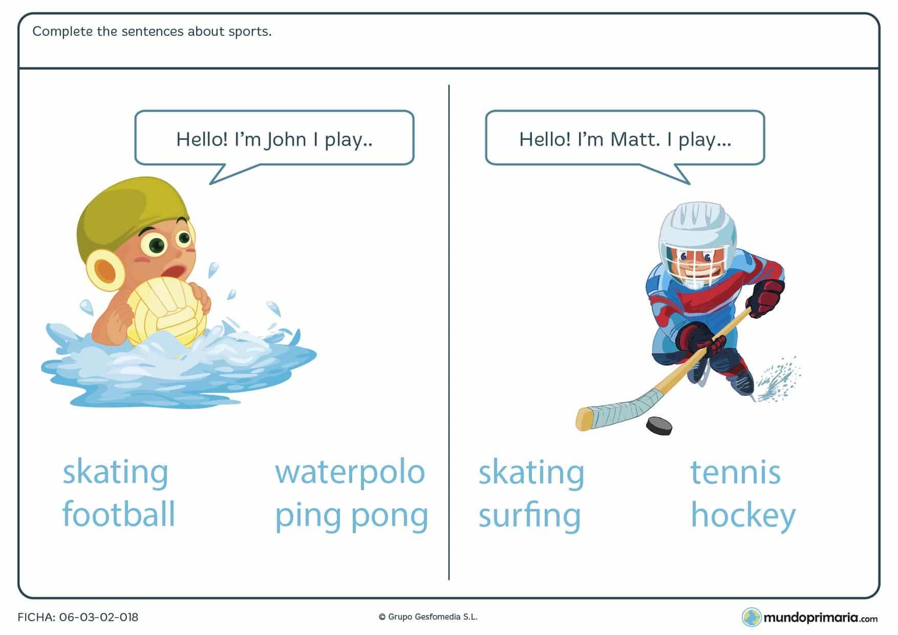 Lámina con dos ejercicios visuales y prácticos sobre cómo se dicen los deportes en inglés recomendada para alumnos de cuarto de Primaria.