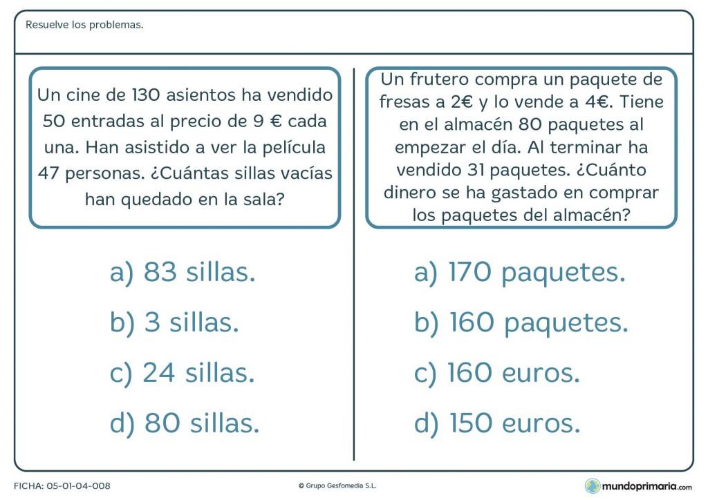 Ficha con dos ejercicios y operaciones monetarias para primaria