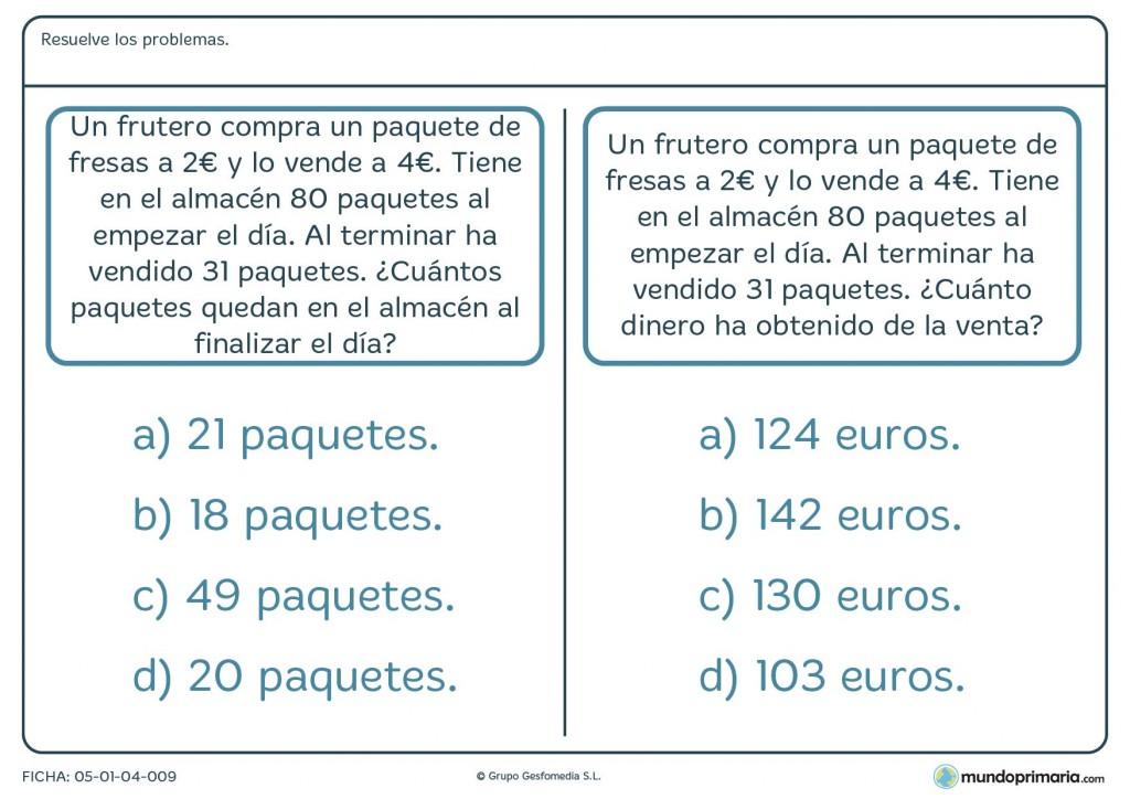 Ficha con dos problemas matemáticos y cálculos de dinero para primaria