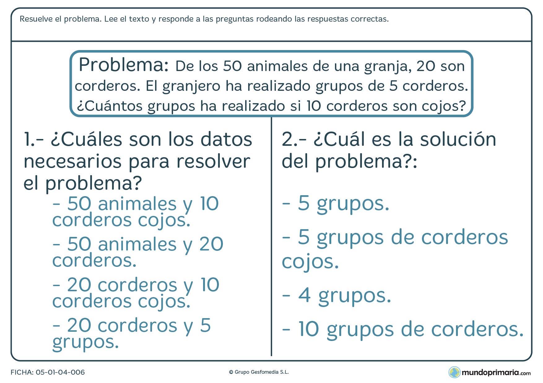 Resolución problemas ejercicios tercero primaria