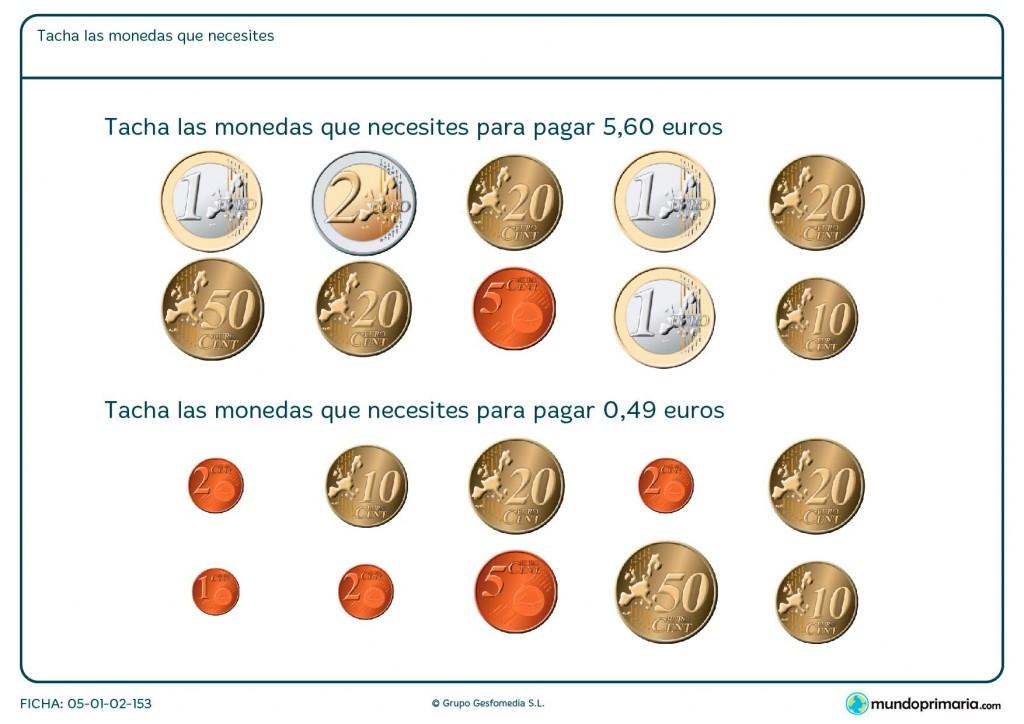 Ficha de elegir dinero hasta sumar lo que se pide para primaria