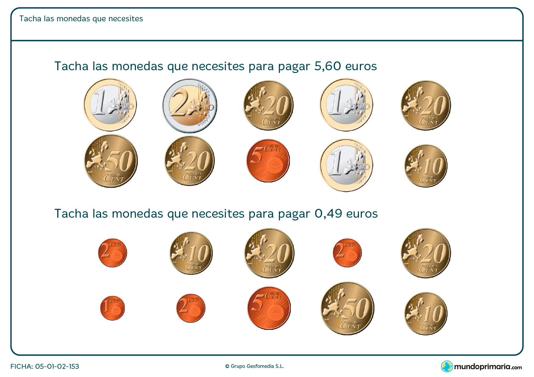 Rodear las monedas que aparecen para que todas ellas sumen el dinero que se pide en euros.