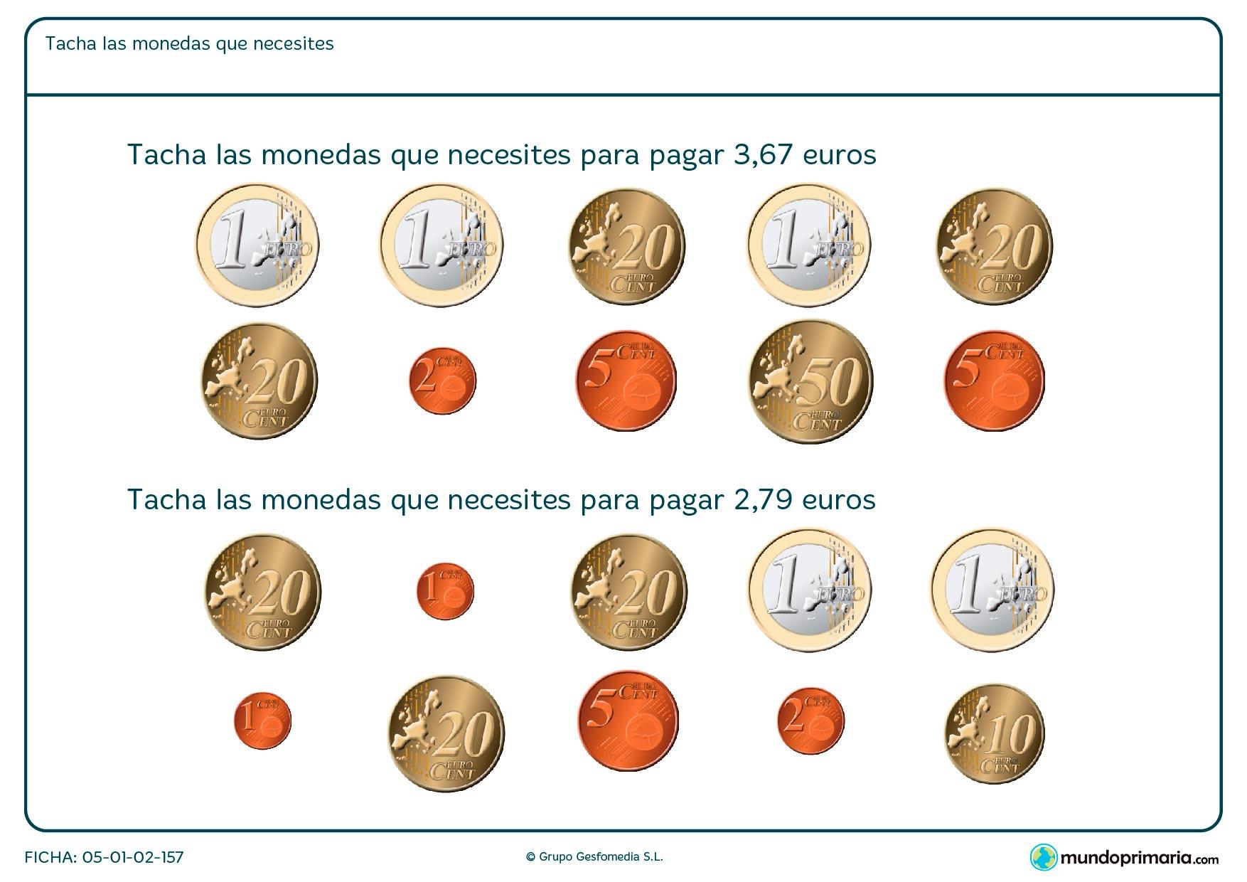 Elegir las monedas que se presentan en la ficha hasta llegar al total que pide el enunciado del ejercicio