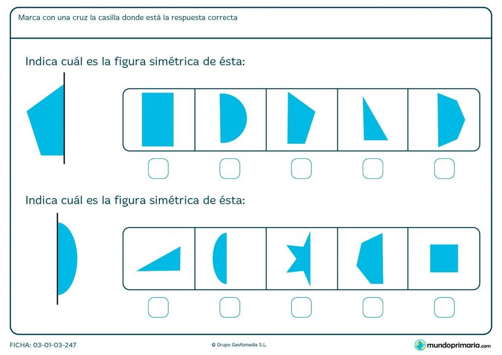 Ficha de figuras simétricas para primaria