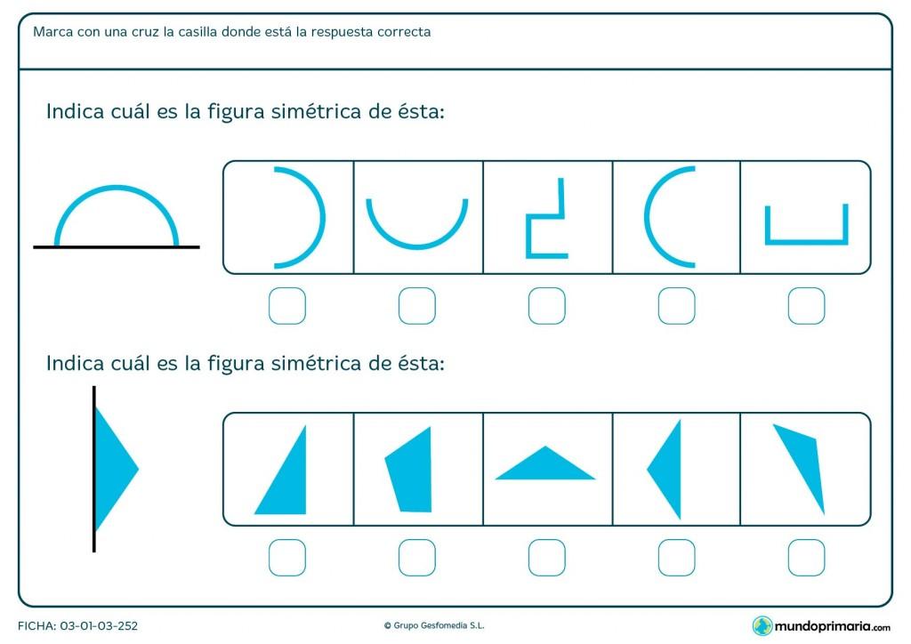 Ficha de identificar simetría para niños de 6 y 7 años