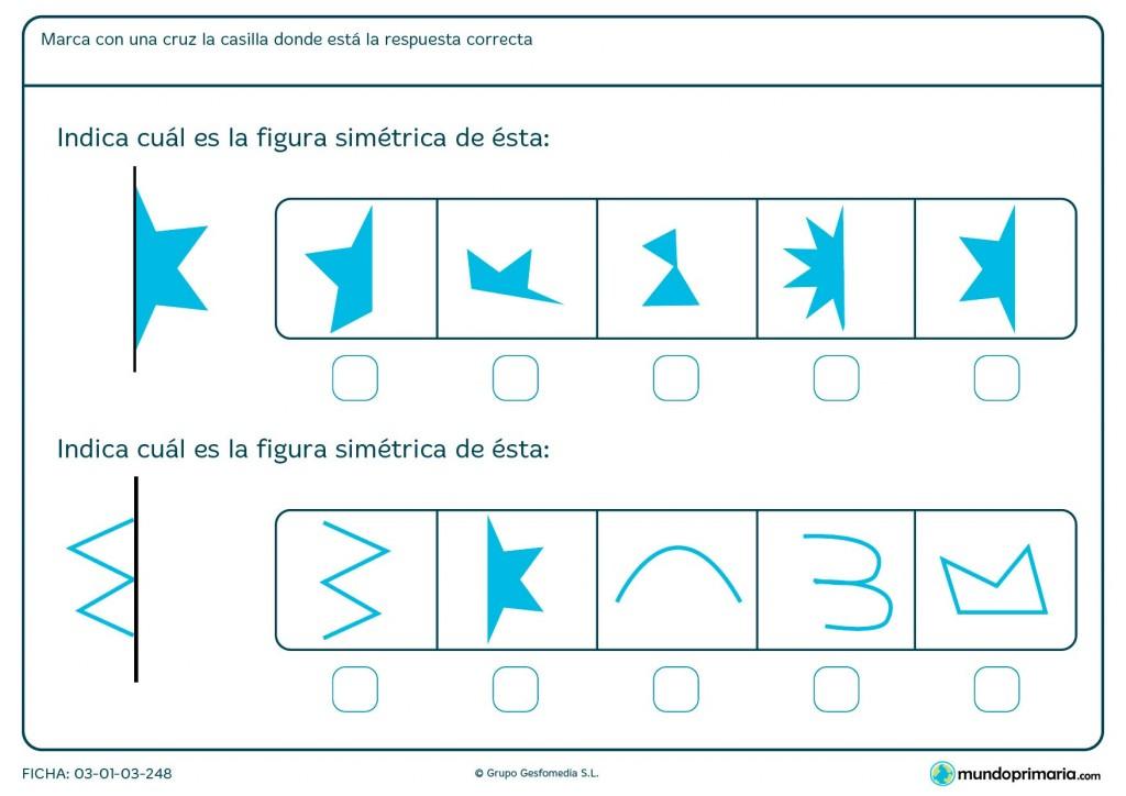 Ficha de identificar simetría para primaria