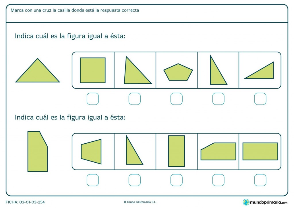 Ficha de indicar figuras iguales para primaria