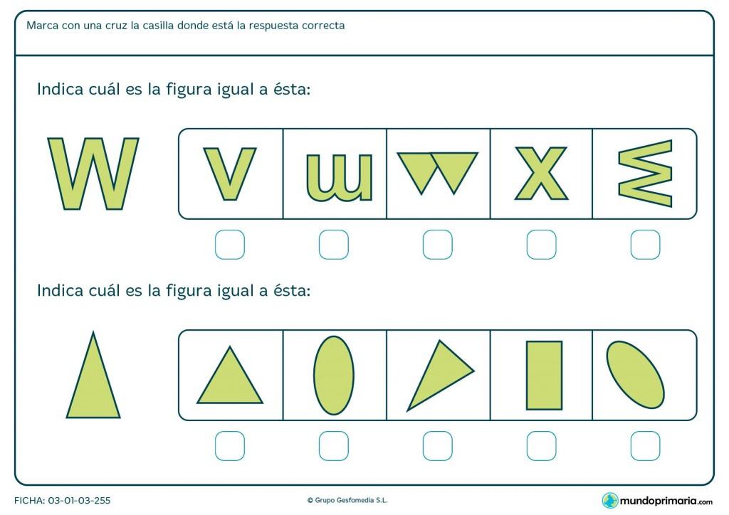Ficha de indicar igualdad entre figuras para primaria