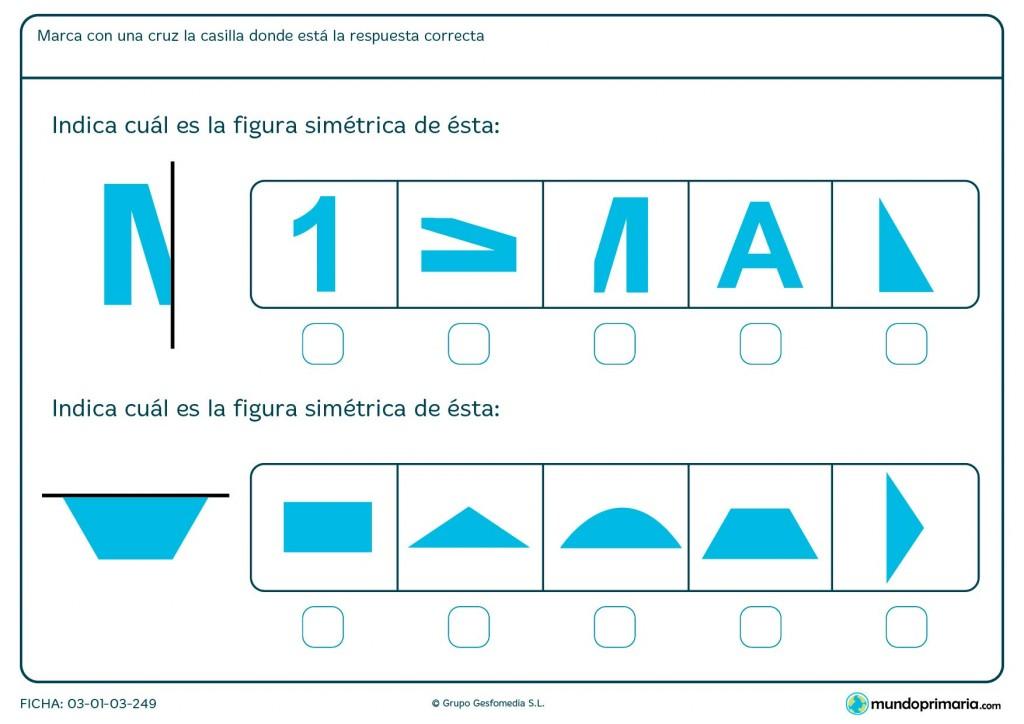 Ficha de indicar simetría para primaria