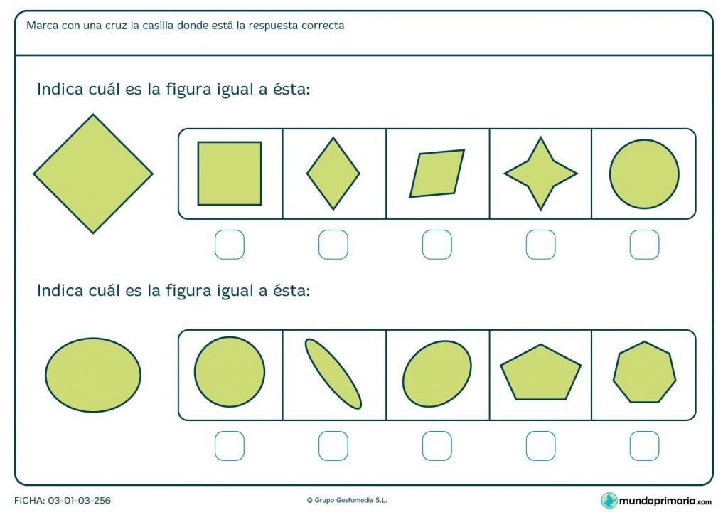 Ficha de marcar figuras iguales para primaria