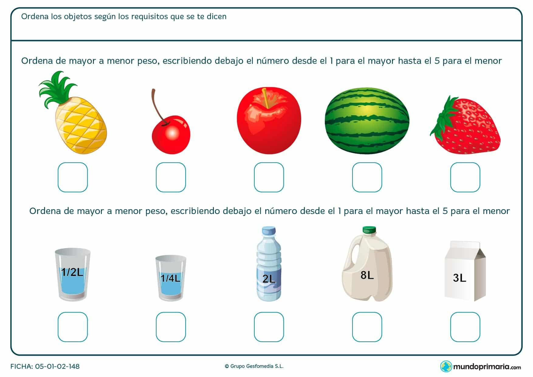 Observa estos objetos y ordénalos de mayor a menor según su peso.