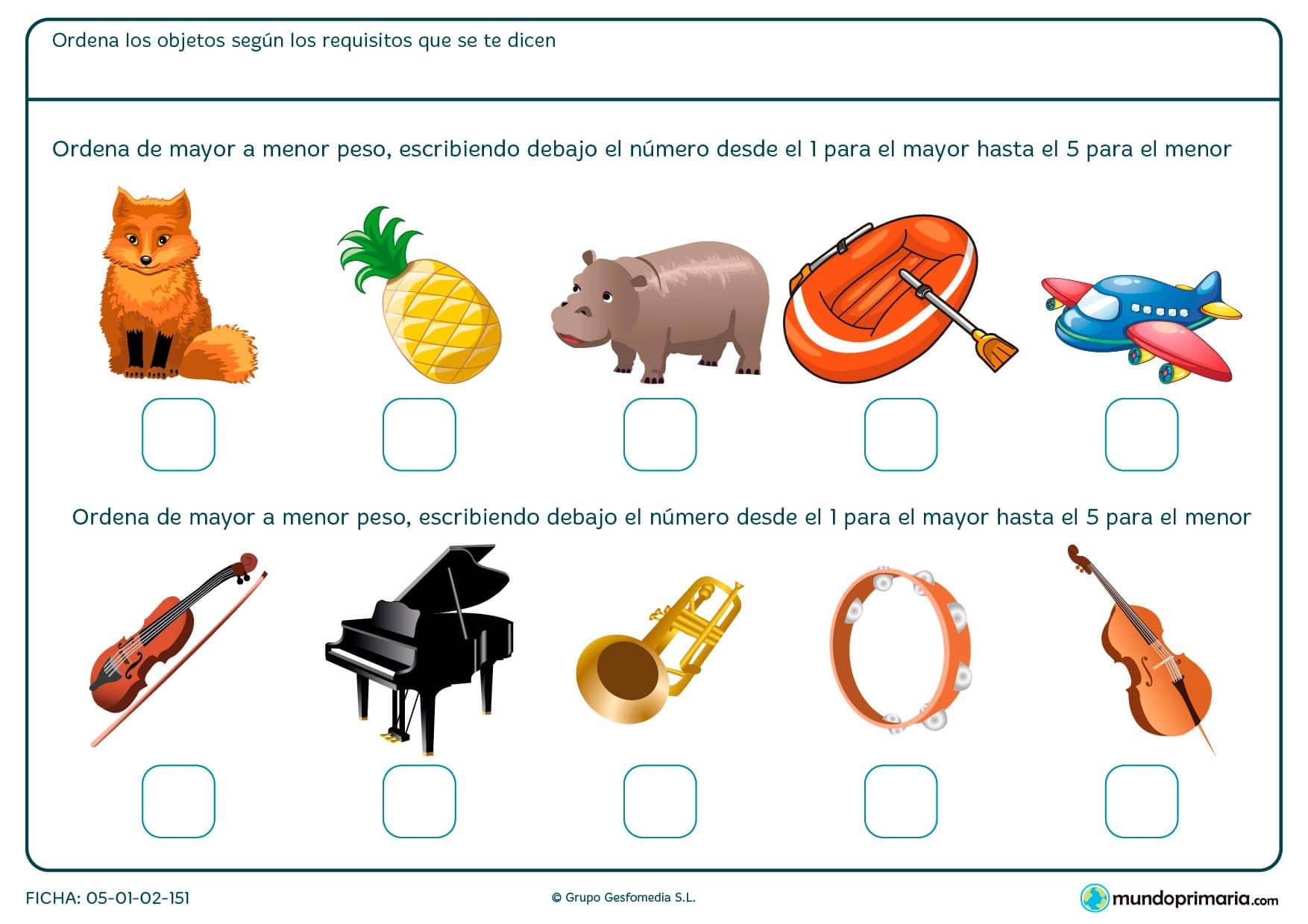 Pon números del 1 al 5 para ordenar las imágenes por peso.
