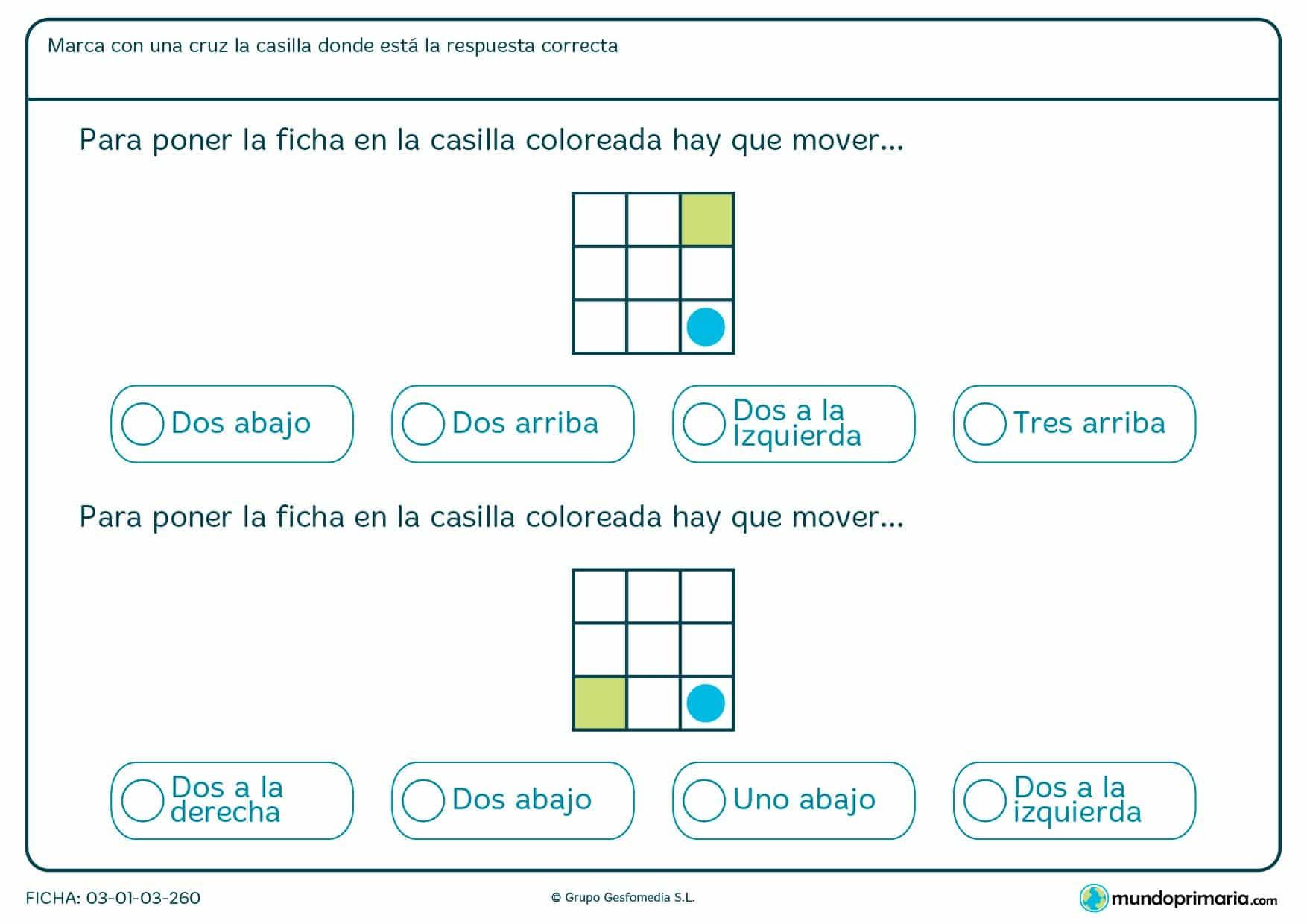 ¿Cuántas casillas hay que desplazar el círculo para dar con la solución? Cuenta los cuadrados que habría que mover.