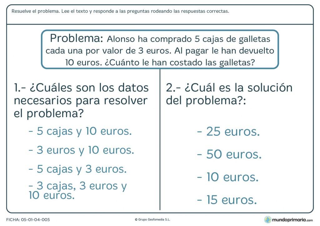 Ficha de problema con cálculo de dinero en euros para primaria