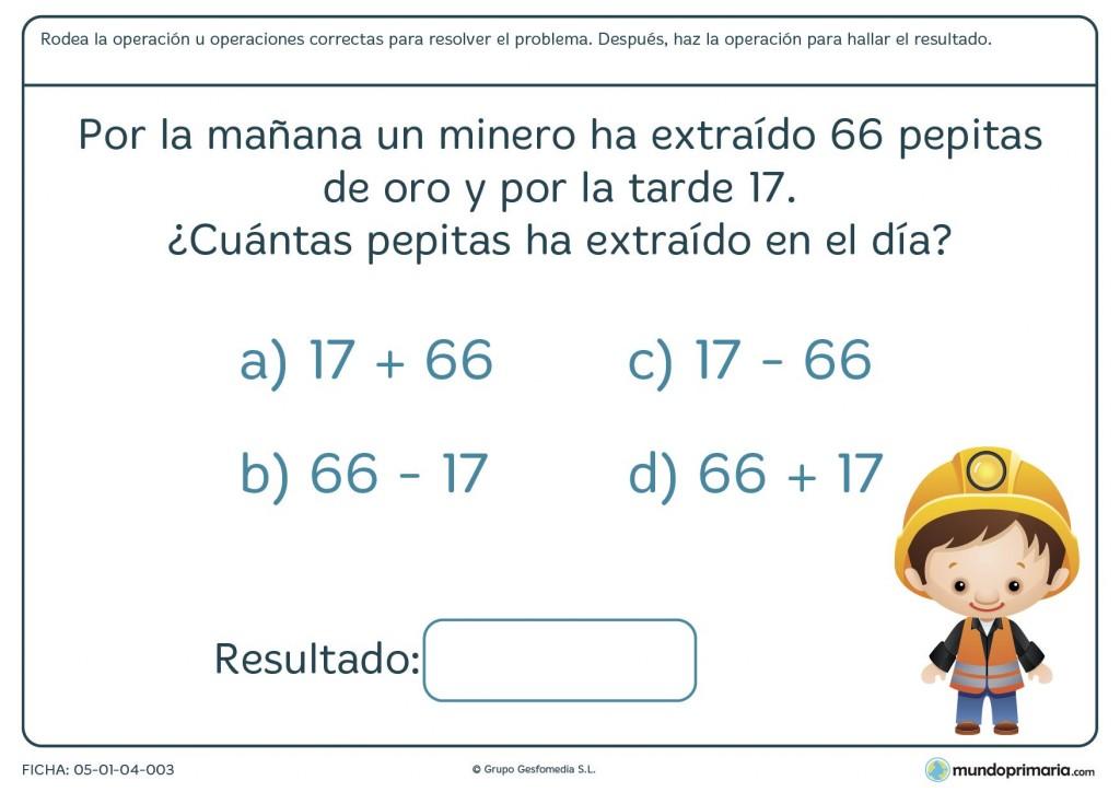 Ficha de problema de sumas y restas para primaria