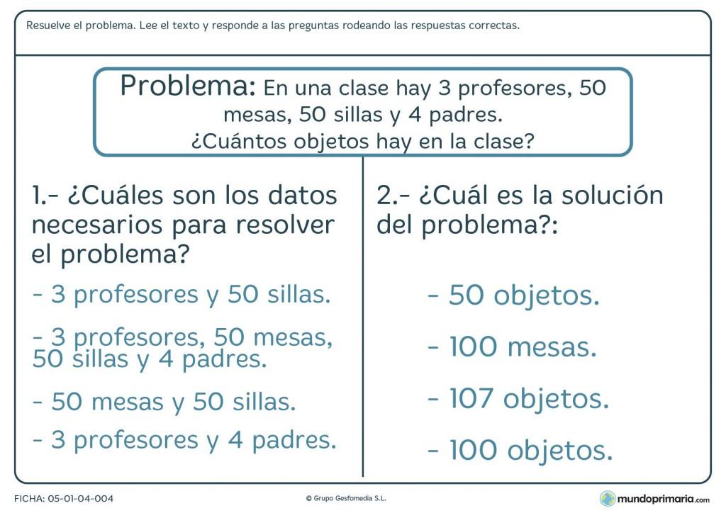 Ficha de resolver un problema de matemáticas de primaria