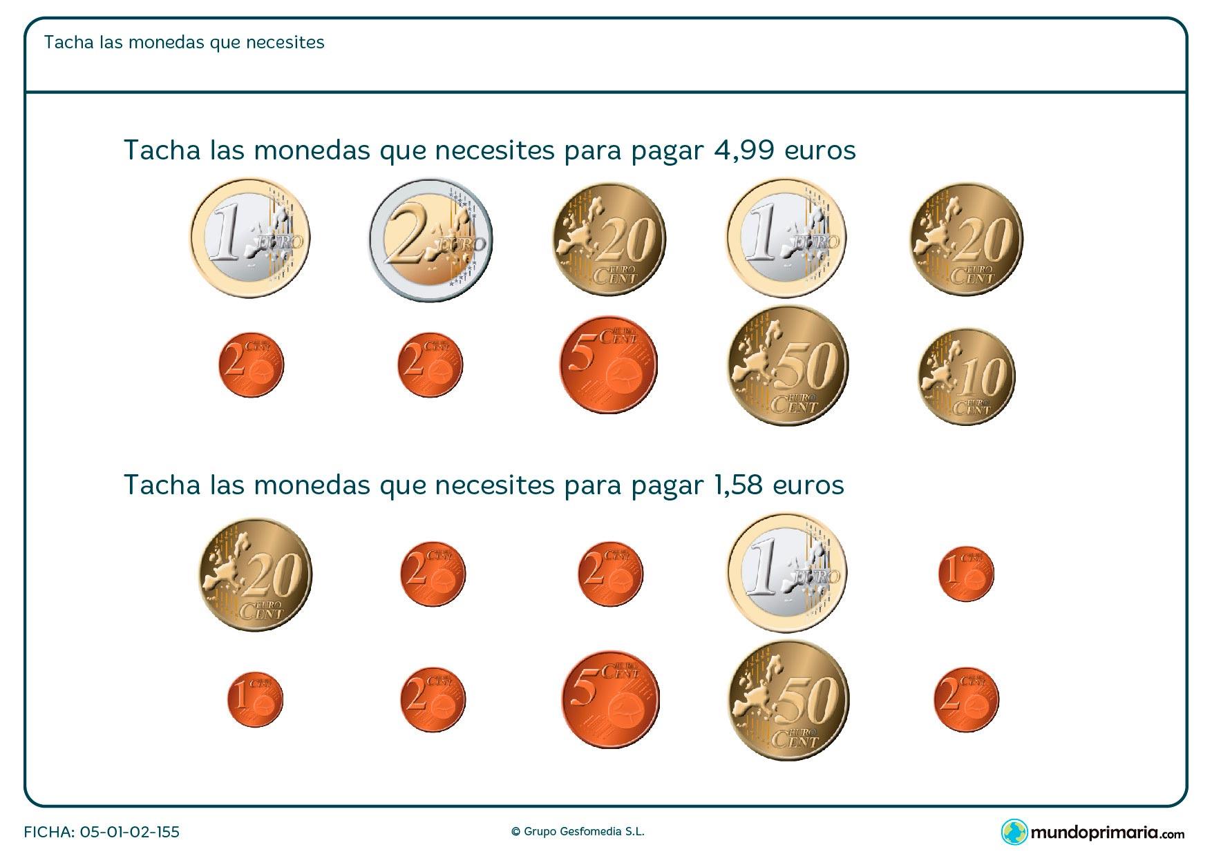 Seleccionar las monedas que juntas sumen el total de dinero que se plantea en el ejercicio de matemáticas.
