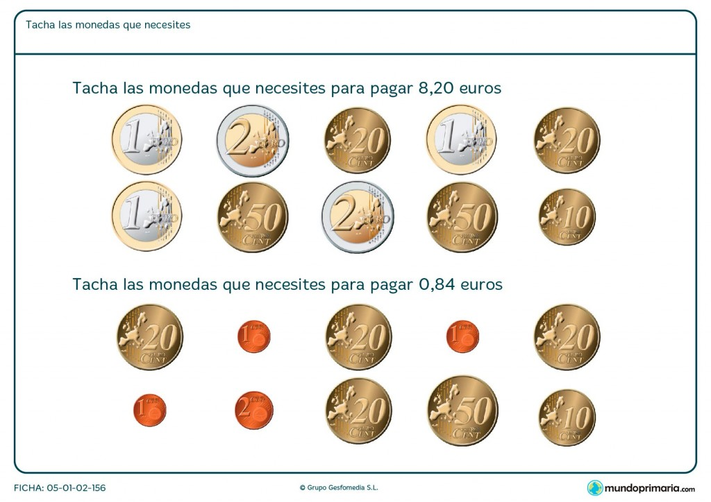 Ficha de sumar dinero en monedas de euro para primaria