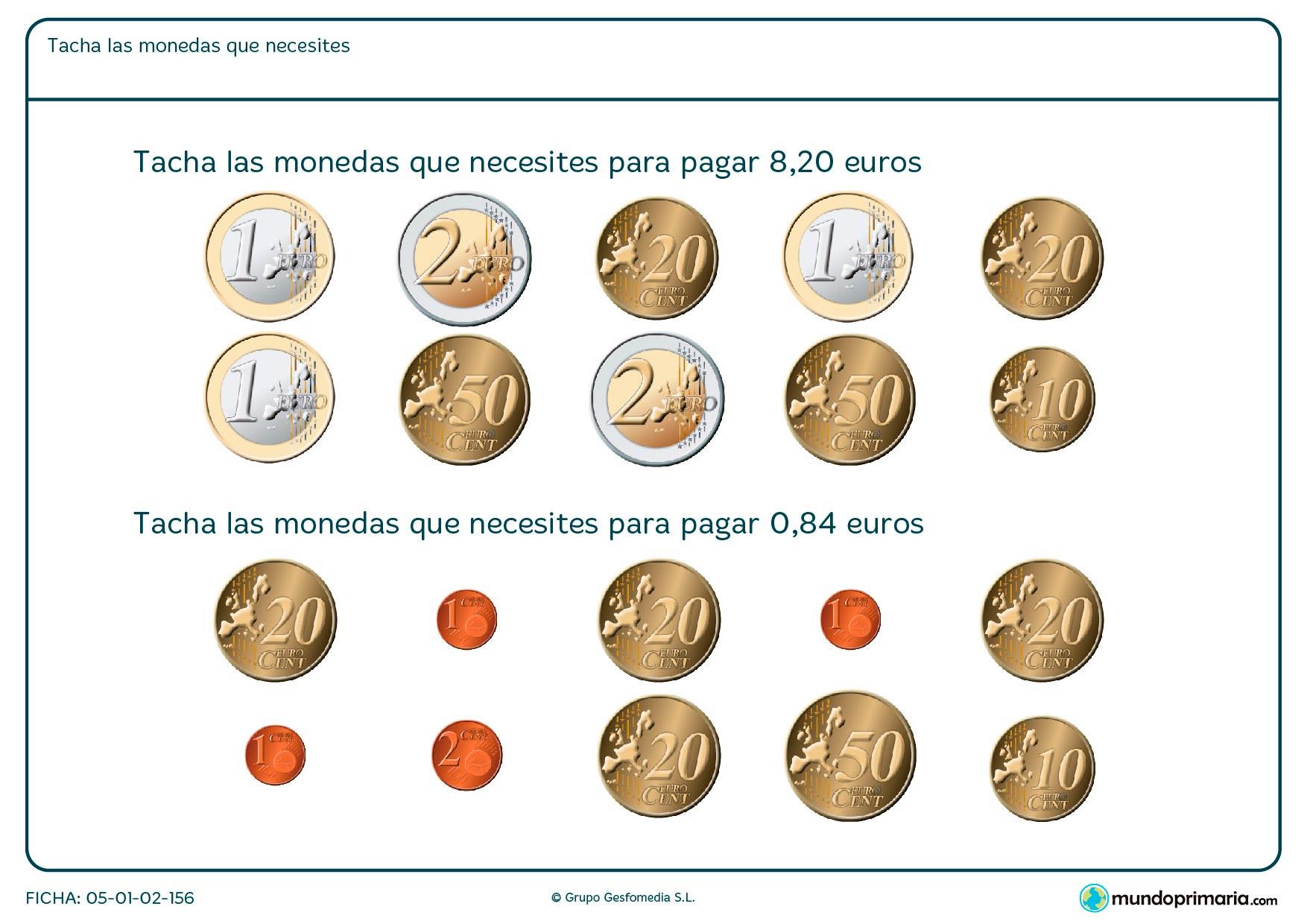 Sumar las monedas necesarias hasta llegar al total del dinero que se pide en el ejercicio para resolver el problema