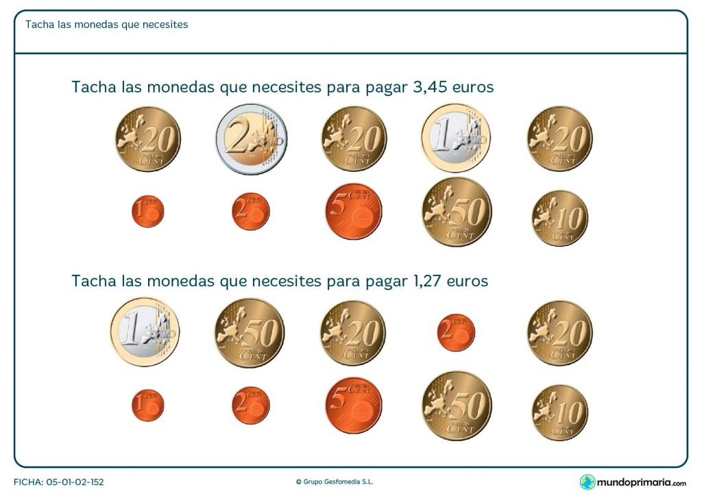 Ficha de sumar monedas en euro para primaria