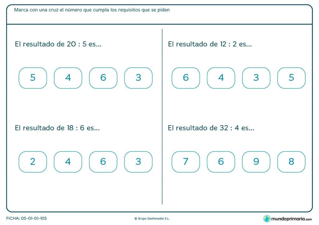 Ficha de marcar la solución que procede a cada división para primaria