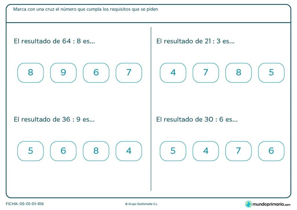 Ficha de seleccionar el resultado correcto de divisiones para primaria