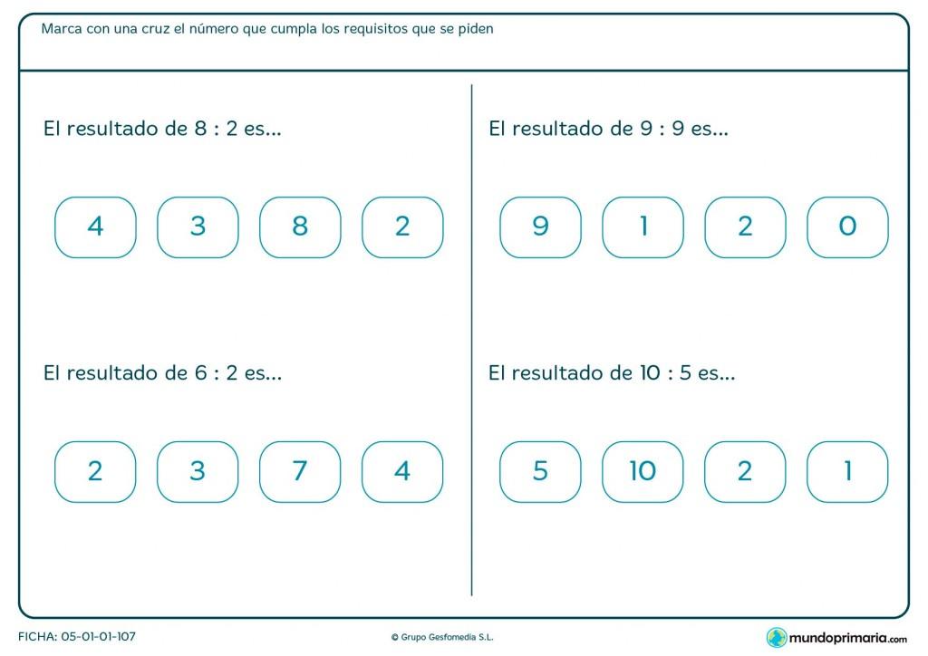 Ficha de establecer la solución de divisiones para primaria