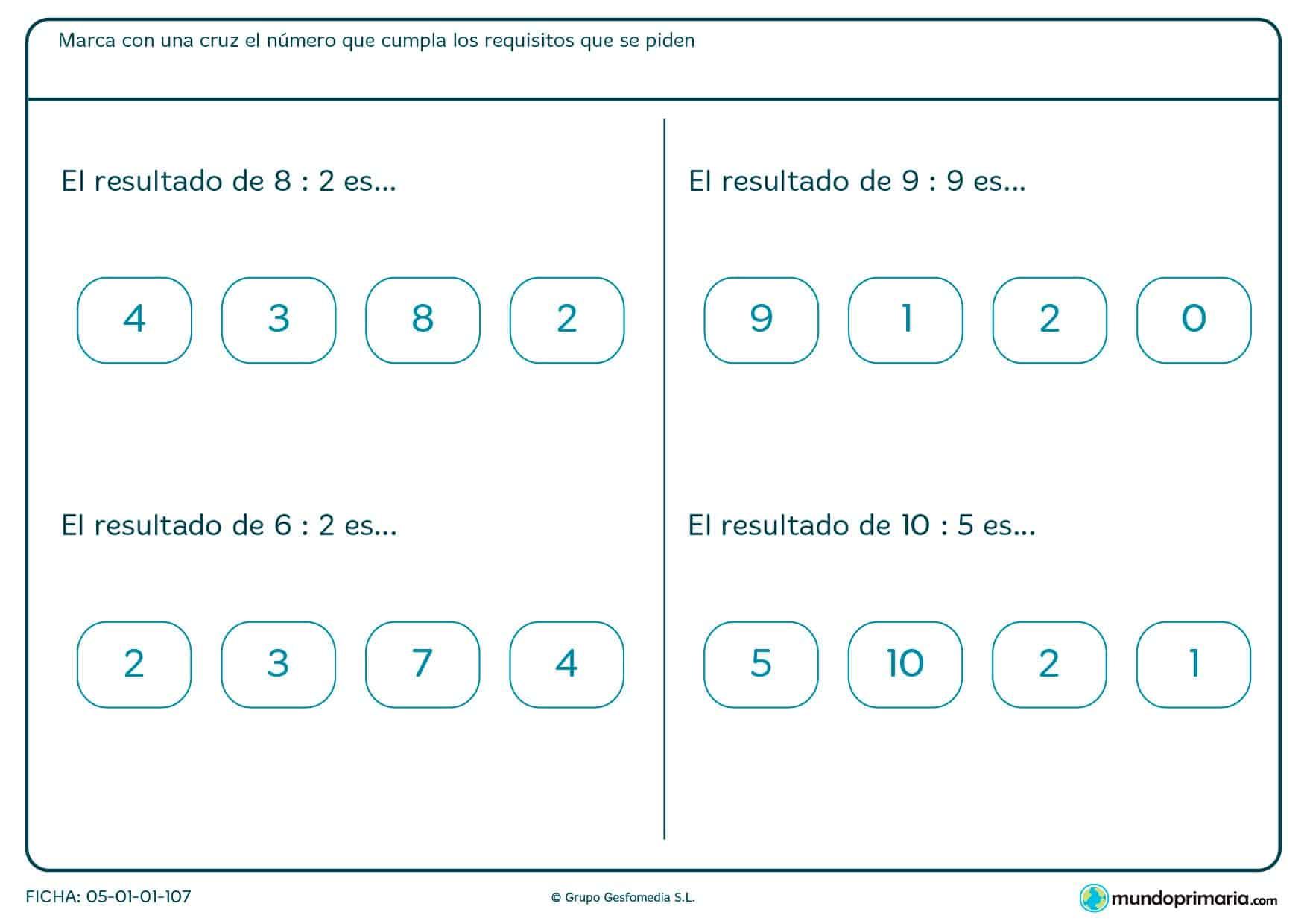Ejercicio de matemáticas y divisiones en el que hay que seleccionar la opción correcta.