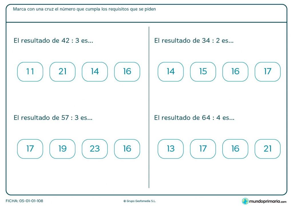 Ficha de marcar la solución correcta de divisiones para primaria