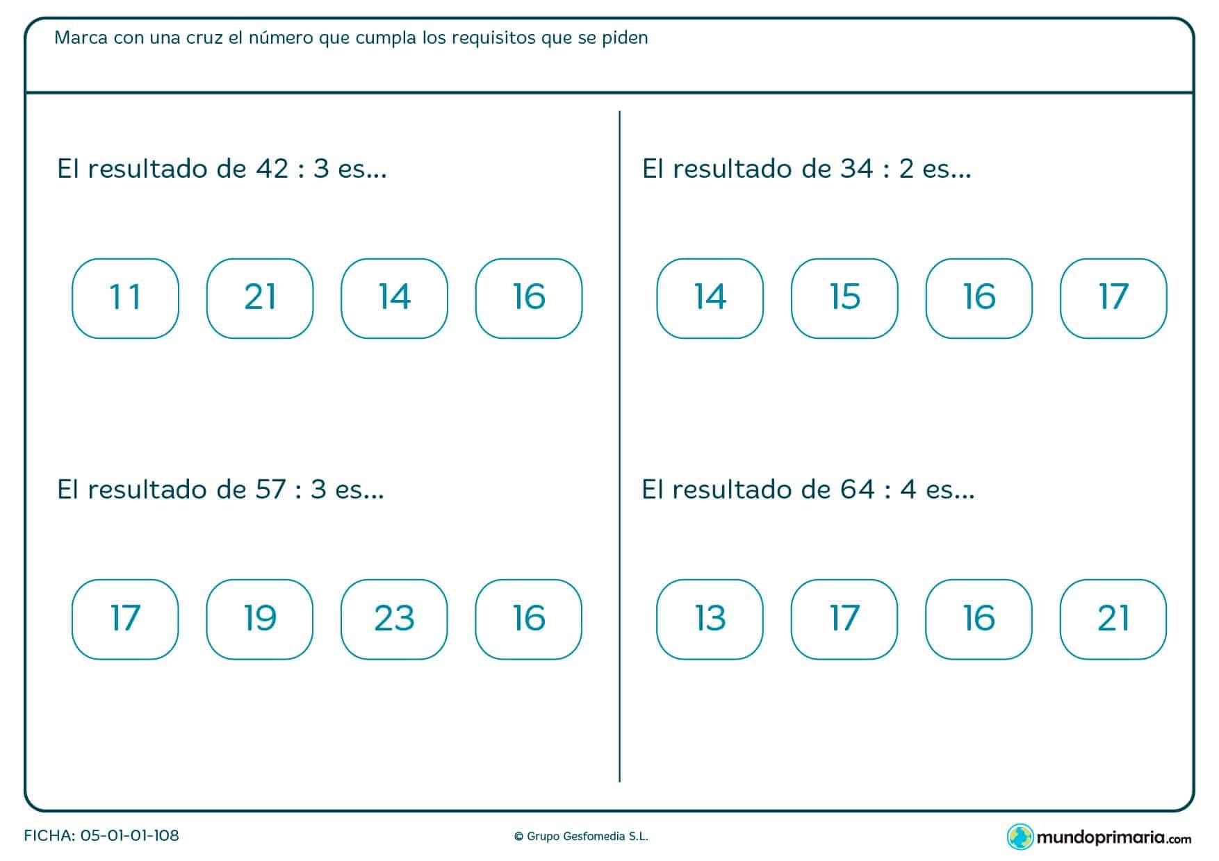 Se deben señalar los resultados válidos para cada división planteada en el enunciado, eligiendo entre varias opciones.