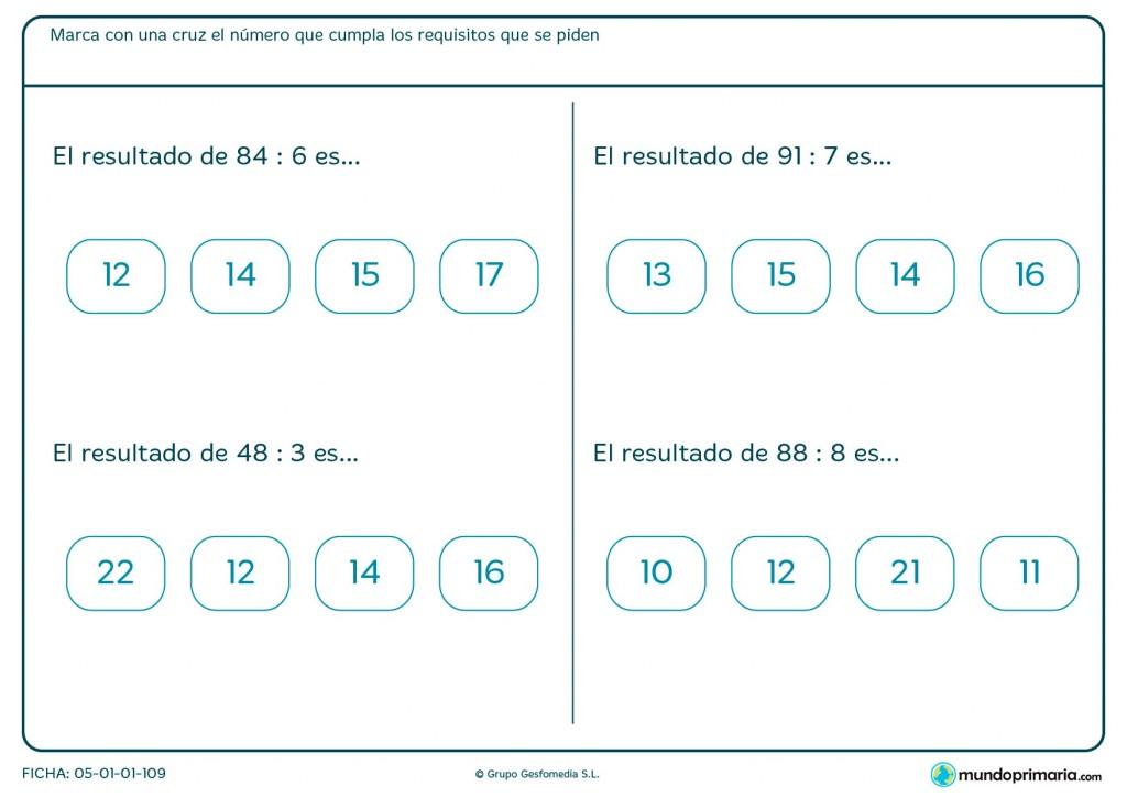 Ficha de señalar el resultado de las divisiones para primaria