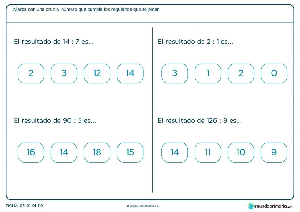 Ficha de marcar con cruz el cociente de las divisiones para primaria