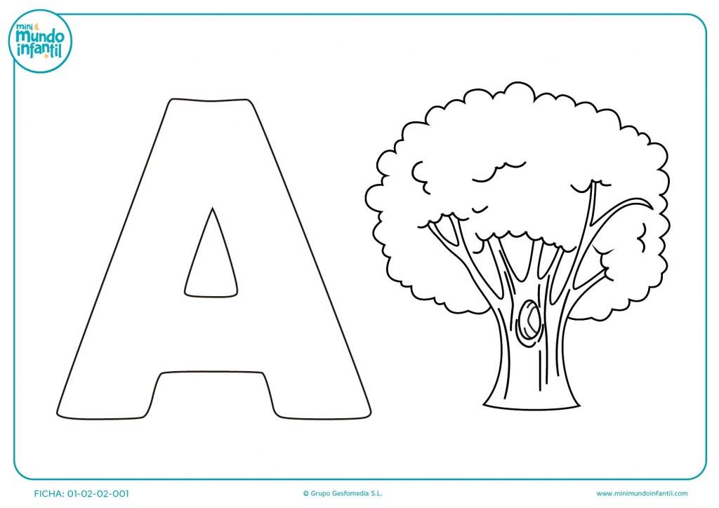 Plantilla para pintar la A de árbol con colores para infantil