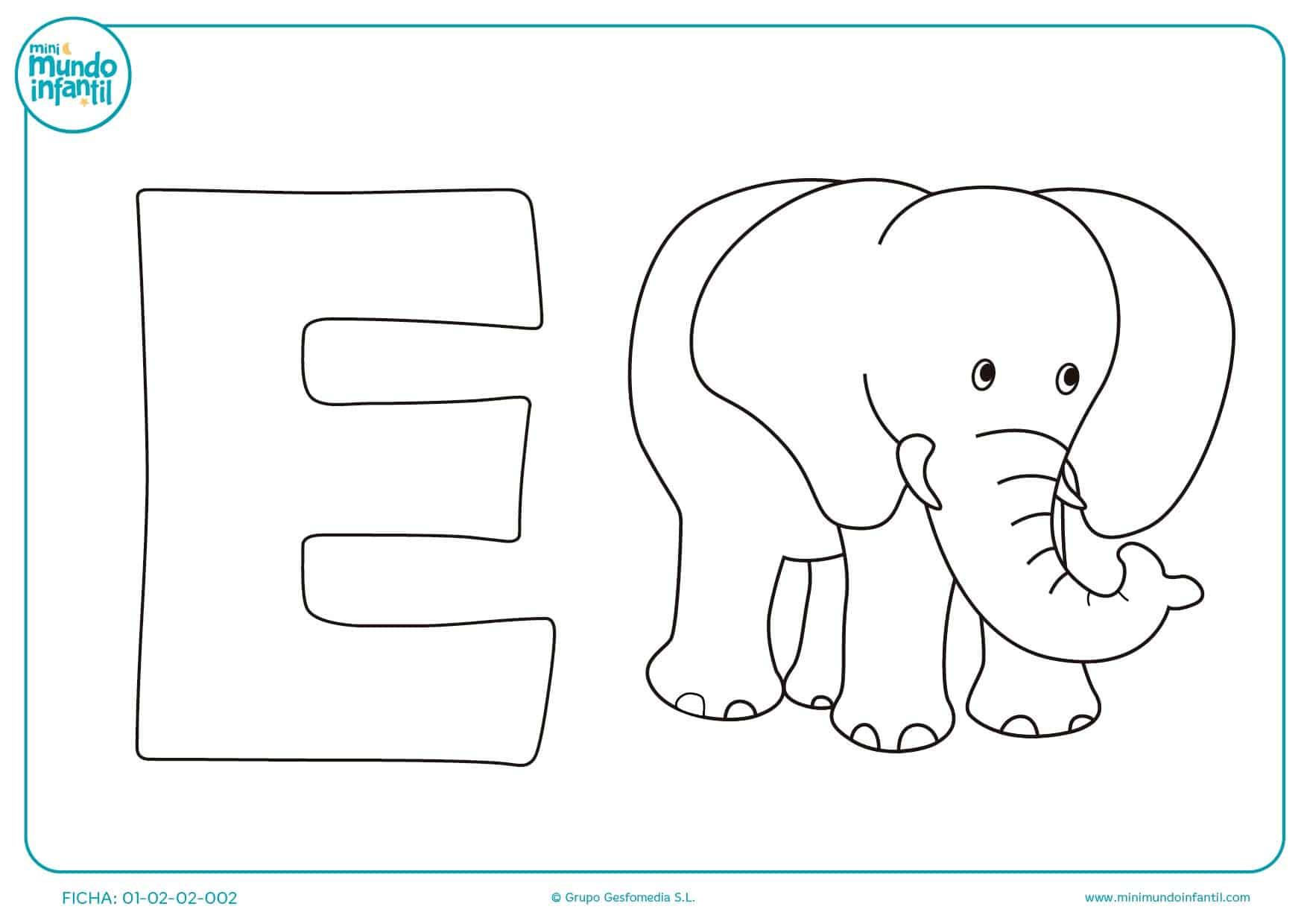 Completa con ceras de colores la imagen de la E y del elefante