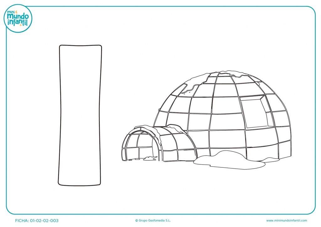 Ejercicio de aprendizaje de la letra I con una imagen de iglú